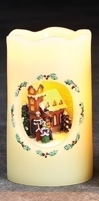 """5"""" Ivory White and Brown Carolers Scene Flickering Flame-less LED Candle - IMAGE 1"""