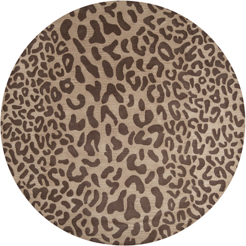 8' Chocolate Brown and Fawn Beige Contemporary Round Area Throw Rug - IMAGE 1