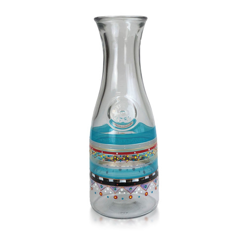 """11"""" Blue Mosaic Carnival Confetti Hand Painted Beverage Carafe - IMAGE 1"""