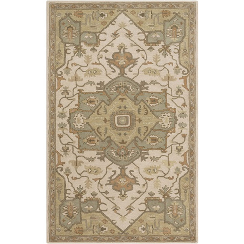 2' x 3' Traditional Beige and Sage Green Hand Tufted Wool Area Throw Rug - IMAGE 1