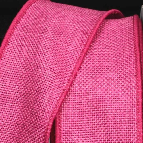 "Pink Fine Burlap Wired Craft Ribbon 2"" x 40 Yards - IMAGE 1"
