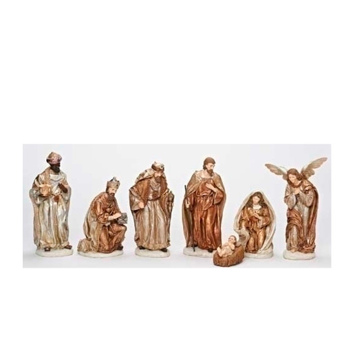 "7-Piece Brown Religious Christmas Nativity Figurine Set 12"" - IMAGE 1"
