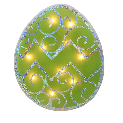 """12"""" Lighted Green Easter Egg Window Silhouette Decoration - IMAGE 1"""