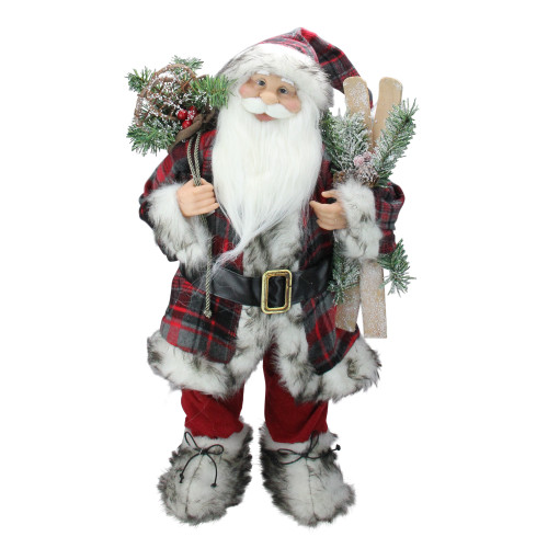 "24"" Alpine Standing Santa Claus with Frosted Pine, Furry Boots and Skis Christmas Figure - IMAGE 1"