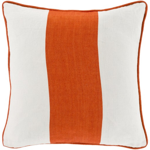 "22"" Orange and White Contemporary Square Striped Throw Pillow - Down Filler - IMAGE 1"