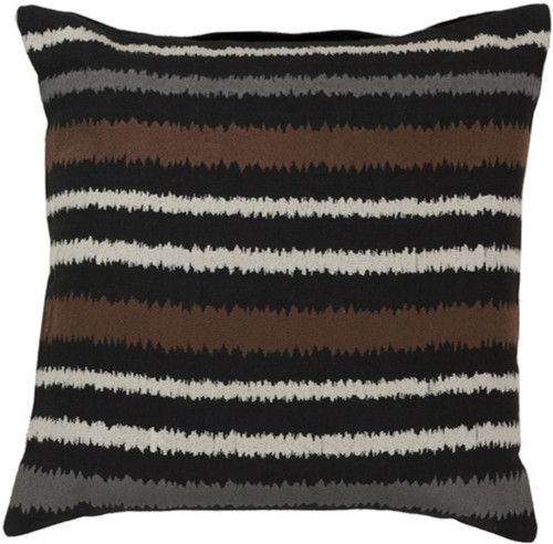 "22"" Black, Brown, and White Striped Square Throw Pillow - Down Filler - IMAGE 1"