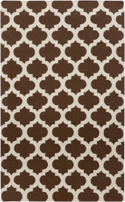8' x 11' Chocolate Brown and Beige Abstract Hand Woven Rectangular Area Throw Rug - IMAGE 1