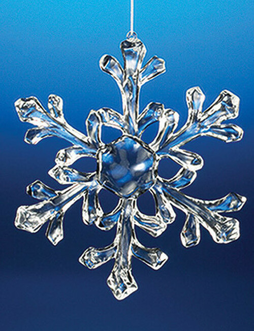 """Club Pack of 18 Clear Icy Medium Snowflake Ornaments 6"""" - IMAGE 1"""