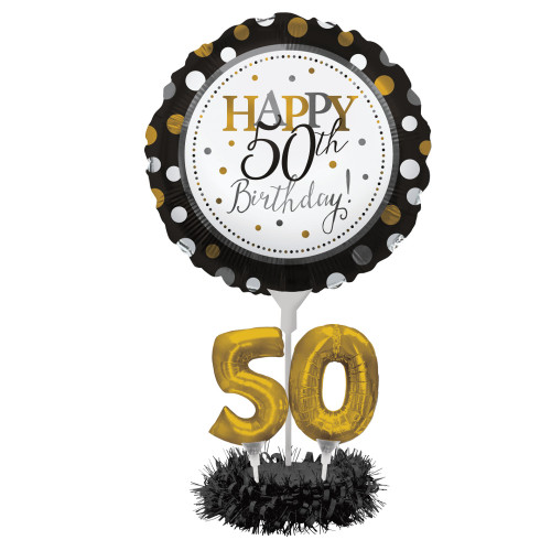 """Pack of 4 Black and Gold """"Happy 50th Birthday"""" Party Balloon Centerpiece Kit 24"""" - IMAGE 1"""