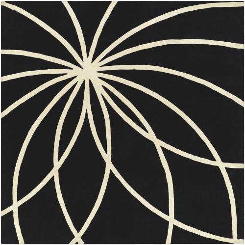 8' x 8' Plasma Elektra Jet Black and White Rectangular Wool Area Throw Rug - IMAGE 1