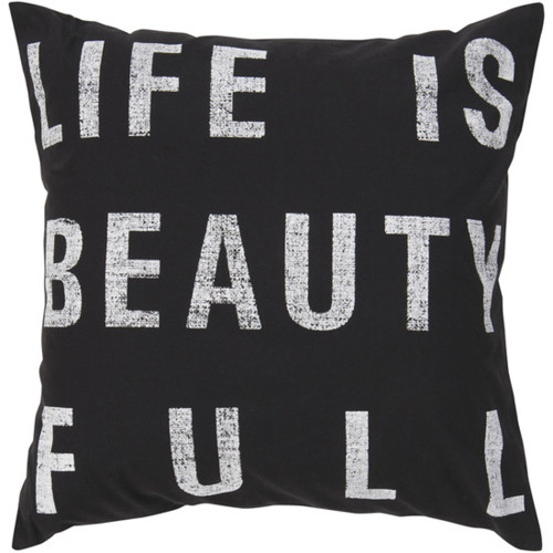 "18"" Black and White Life is Beauty Full Decorative Throw Pillow - Polyester Filler - IMAGE 1"