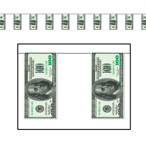 Club Pack of 12 Green and Black Hundred Dollar Bills Party Pennant Banner Decors 12' - IMAGE 1