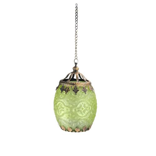 "6.25"" Lime Green Chic Bohemian Glass Tea Light Candle Holder Lantern - IMAGE 1"