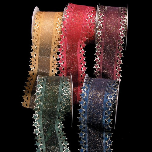 """Gold Star Edge Wired Craft Ribbon 2.5"""" x 20 Yards - IMAGE 1"""