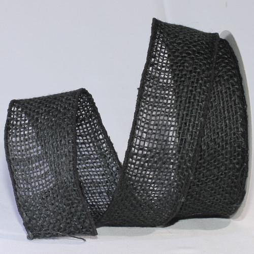 "Black Burlap Wired Craft Ribbon 2"" x 40 Yards - IMAGE 1"