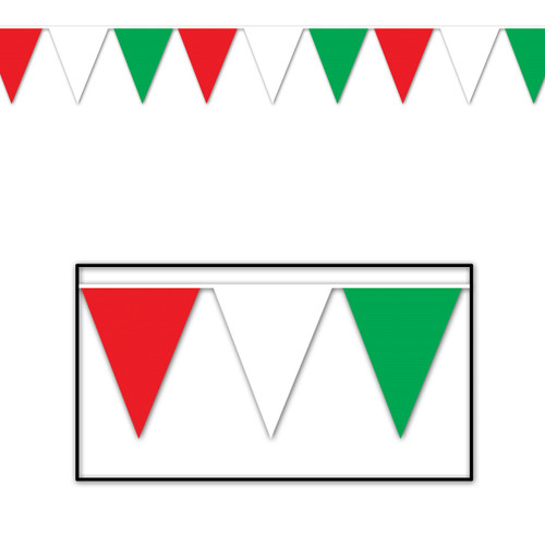 Club Pack of 12 White and Green Italian Outdoor Pennant Banner Hanging Party Decor 120' - IMAGE 1