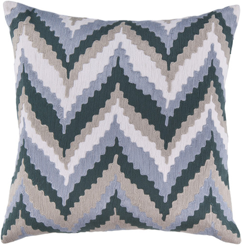 """22"""" Navy Blue and Gray Chevron Square Throw Pillow - Down Filler - IMAGE 1"""
