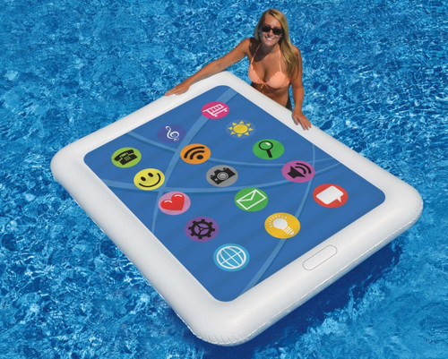 """67"""" Inflatable White and Blue Smart Tablet Novelty Swimming Pool Float - IMAGE 1"""
