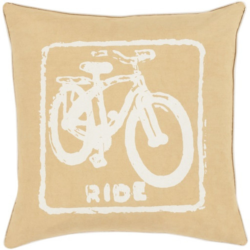 """22"""" Orange and Beige Relaxing Ride Square Throw Pillow - Down Filler - IMAGE 1"""