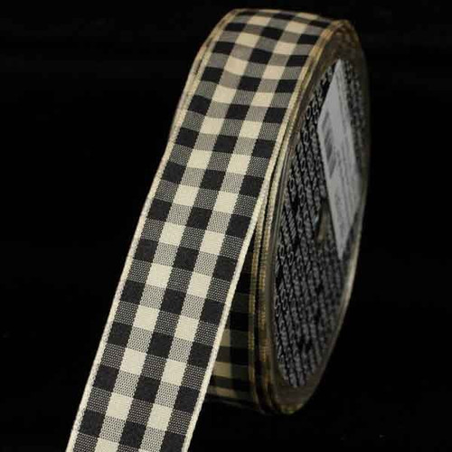 """Black and Ivory Gingham Wired Woven Edge Craft Ribbon 1.5"""" x 27 Yards - IMAGE 1"""