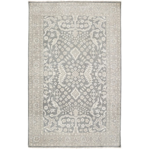 3.5' x 5.5' Traditional Slate Gray Hand Knotted Wool Area Throw Rug - IMAGE 1