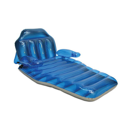 """80"""" Inflatable Transparent Blue Adjustable Swimming Pool Lounger - IMAGE 1"""