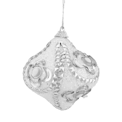 """3ct White and Silver Shatterproof Glittered Onion Christmas Ornaments 3"""" - IMAGE 1"""