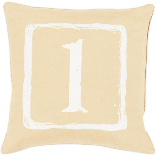 """20"""" Fawn Brown and Daisy White 1 Big Kid Blocks Decorative Throw Pillow - Polyester Filler - IMAGE 1"""