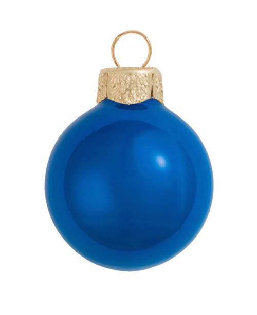 "40ct Cobalt Blue Pearl Glass Christmas Ball Ornaments 1.5"" (40mm) - IMAGE 1"