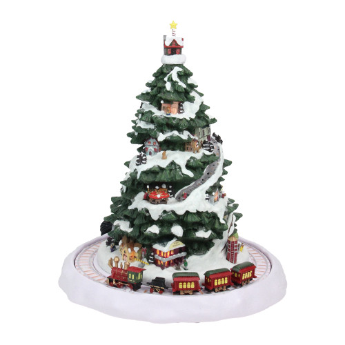 """12.5"""" Pre-Lit Green and White Animated Musical Express Train Christmas Tabletop Decor - IMAGE 1"""