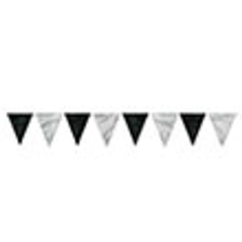 Club Pack of 12 Black & Silver Outdoor Pennant Banner Hanging Party Decorations 12' - IMAGE 1