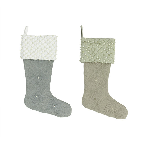 """Set of 2 Gray and Brown Quilted Christmas Stockings 18"""" - IMAGE 1"""