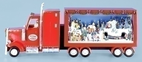 "25.5"" Red and White Semi Truck with Winter Scene Christmas Table Topper - IMAGE 1"