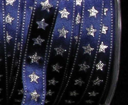 """Navy Blue with Silver Wired Craft Ribbon 0.5"""" x 54 Yards - IMAGE 1"""
