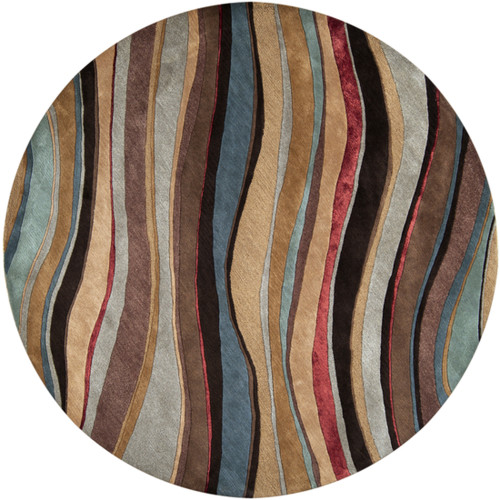 8' Brown and Beige Round New Zealand Wool Area Throw Rug - IMAGE 1