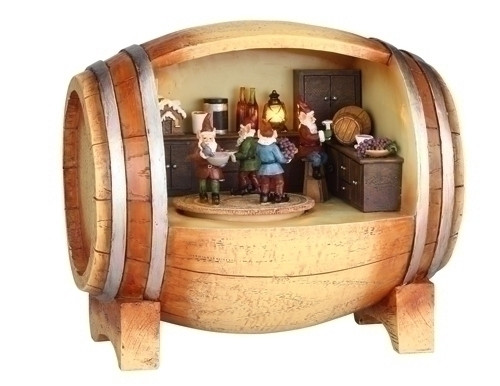"7"" LED Lighted Revolving Musical Elves in Wine Barrel Christmas Figurine - IMAGE 1"