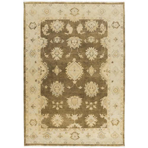 3.5' x 5.5' Tan and Olive Green Fringed New Zealand Wool Area Throw Rug - IMAGE 1