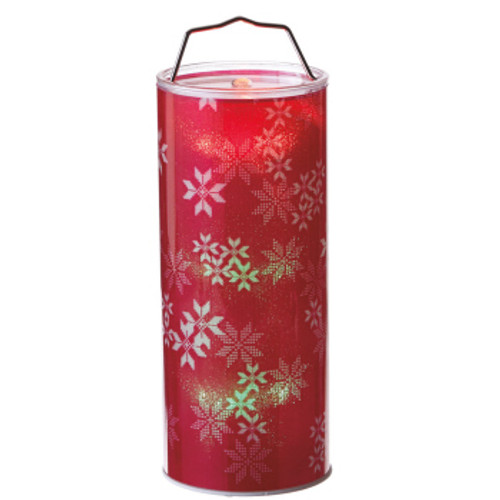 """24"""" Red and White Lighted Snowflake Hanging LED Color Changing Christmas Lantern - IMAGE 1"""