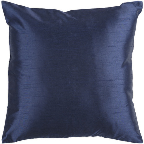 "22"" Shiny Navy Blue Solid Square Throw Pillow - Down Filler - IMAGE 1"