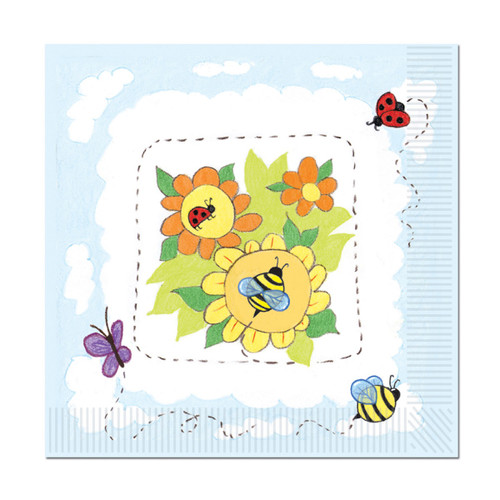 """Club Pack of 192 Yellow and Green Garden Square Disposable Luncheon Party Napkins 6.5"""" - IMAGE 1"""