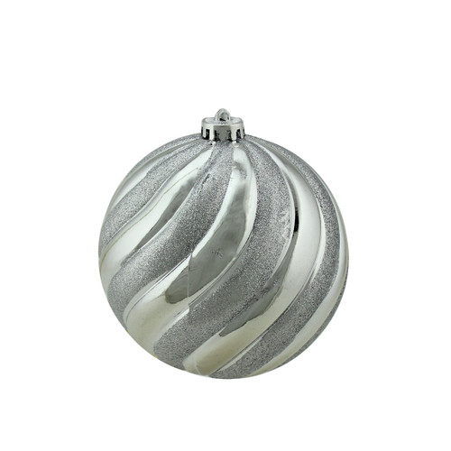 "Silver Swirl Shatterproof 2-Finish Christmas Ball Ornament 5.5"" (140mm) - IMAGE 1"