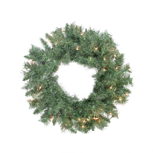 Pre-lit Minetoba Pine Artificial Christmas Wreath - 24-Inch, Clear Lights - IMAGE 1
