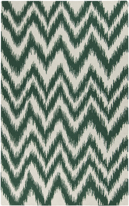 2.5' x 8' Chevron Green and Cream White Hand Woven Rectangular Wool Area Throw Rug Runner - IMAGE 1