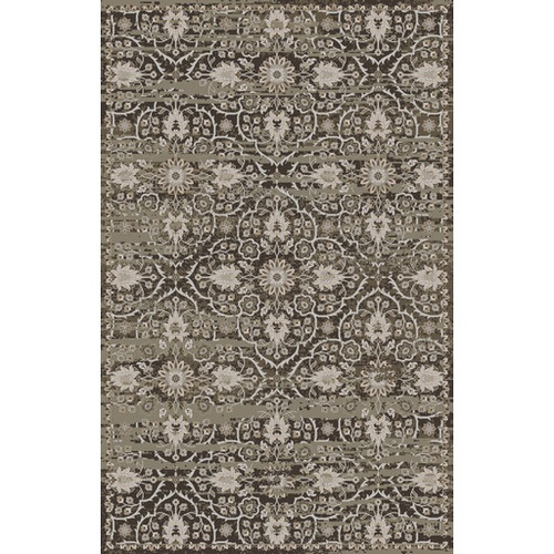5.5' x 8.5' Olive Green and Charcoal Gray Floral Rectangular Area Throw Rug - IMAGE 1