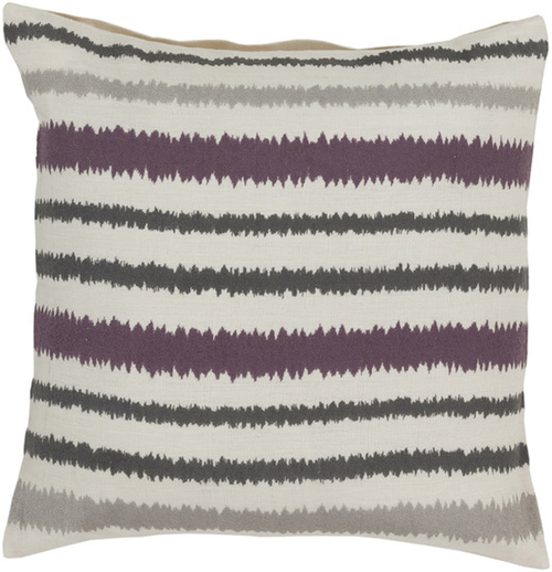 """22"""" White and Gray Striped Square Contemporary Throw Pillow - Down Filler - IMAGE 1"""