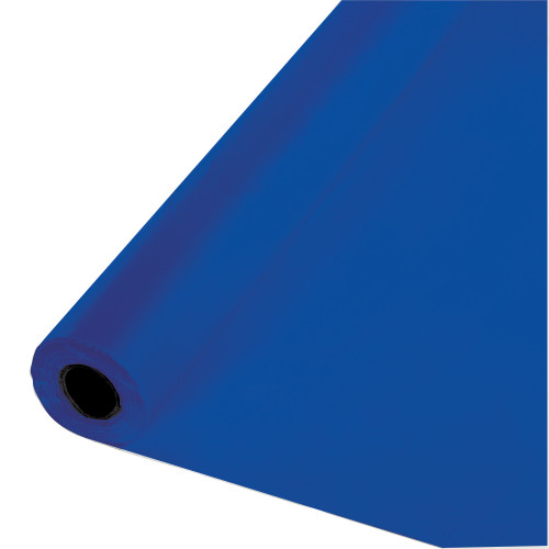 250' Cobalt Blue Solid Disposable Banquet Party Table Cloth Roll - IMAGE 1