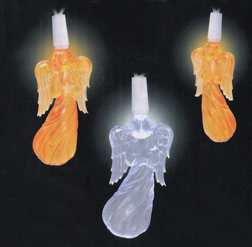 20 Orange and Pure White LED Angel Novelty Christmas Lights - 9.5 ft White Wire - IMAGE 1