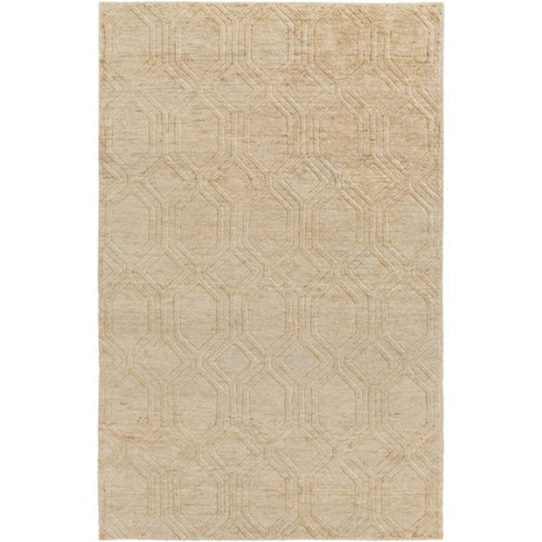 5' x 8' Athenian Boulevard Ivory White and Copper Brown Area Throw Rug - IMAGE 1