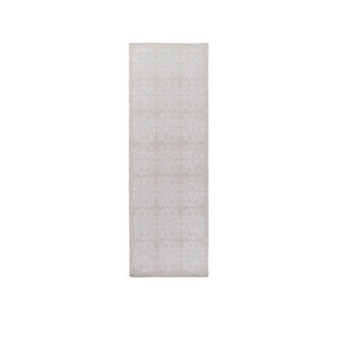 2.5' x 8' Perpetual Leitmotif White and Gray Hand Woven Area Throw Rug Runner - IMAGE 1