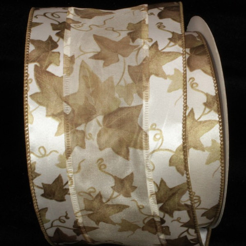 "Ivory and Brown Embossed Wired Craft Ribbon 4"" x 20 Yards - IMAGE 1"
